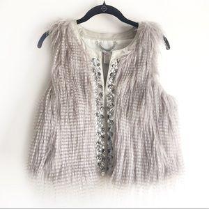 Caché Silver Fur Vest
